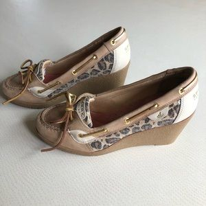 Sperry Top Sider wedges with leopard print